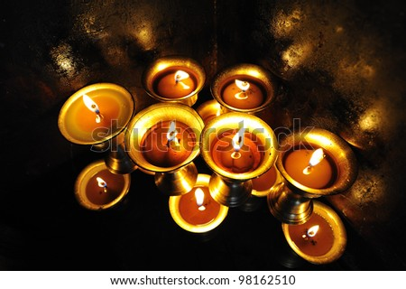 Candles at  temple in Kathmandu, Nepal - stock photo