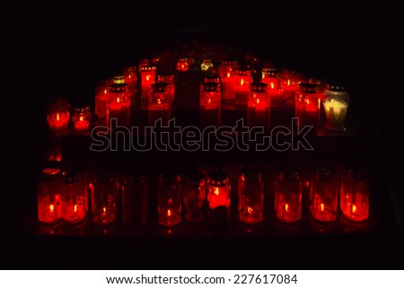 Candles Burning At a Cemetery During All Saints Day, on a cemetery Mirogoj in Zagreb, Croatia - stock photo