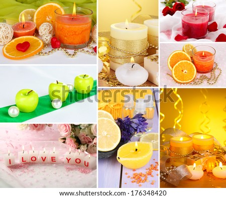 Candles collage - stock photo