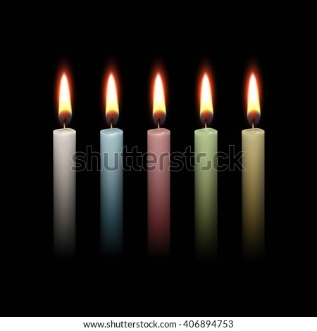 Candles Flame Fire Light Isolated on Black Background. Realistic  Illustration Multicolored White Blue Red Green Yellow Set