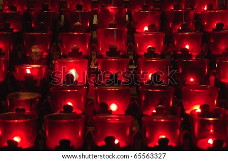 candles in red glass - stock photo