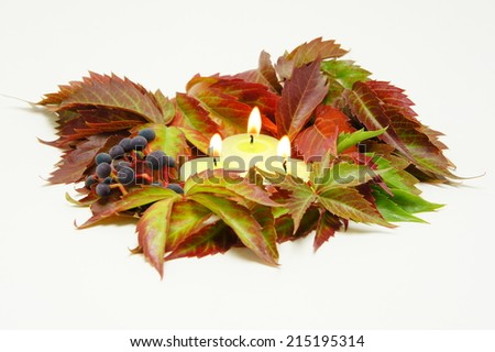 Candles in the autumn leaves.