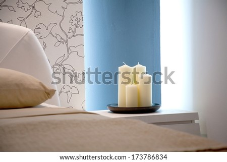 Candles in the bedroom - stock photo