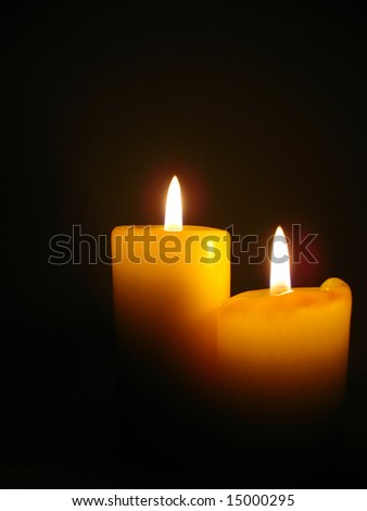 Candles in the night, Christmas still life. - stock photo