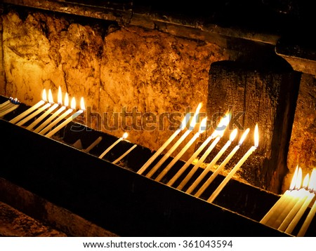 Candles in the temple of the Holy Sepulchre, Jerusalem