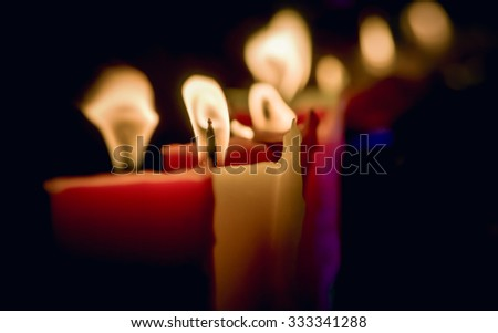 Candles light at night, Abstract glowing background, Close up and selective focus