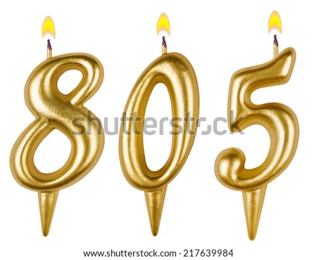 candles number eight hundred five isolated on white background - stock photo