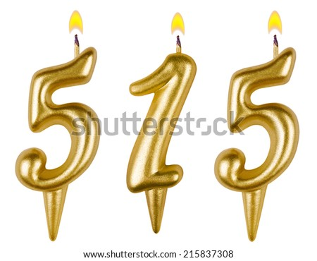 candles number five hundred fifteen isolated on white background - stock photo