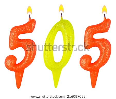candles number five hundred five isolated on white background - stock photo