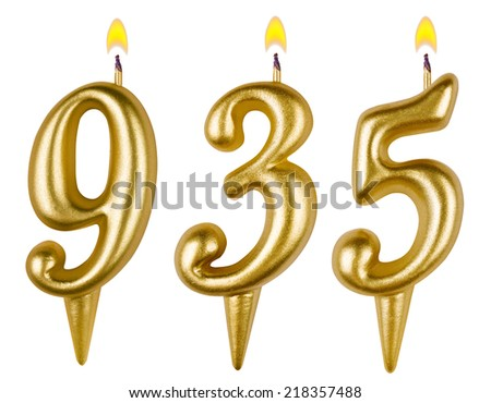 candles number nine hundred thirty-five isolated on white background - stock photo