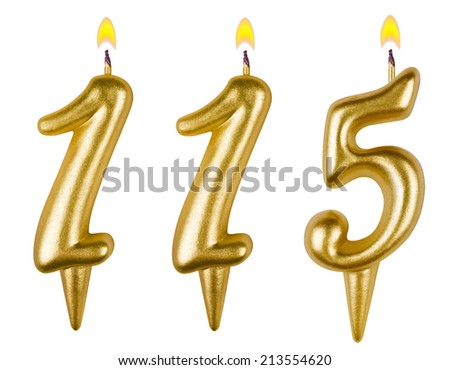 candles number one hundred fifteen isolated on white background - stock photo