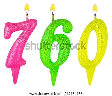candles number seven hundred sixty isolated on white background - stock photo
