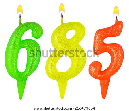 candles number six hundred eighty-five isolated on white background - stock photo