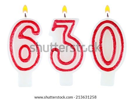 candles number six hundred thirty isolated on white background - stock photo