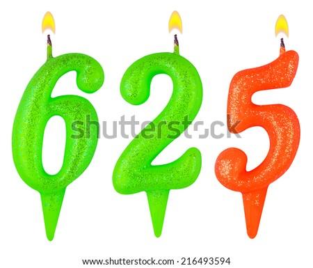 candles number six hundred twenty-five isolated on white background - stock photo