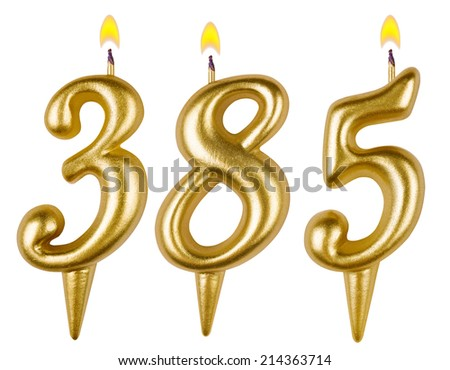 candles number three hundred eighty five isolated on white background - stock photo