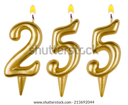 candles number two hundred fifty five isolated on white background - stock photo