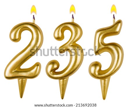 candles number two hundred thirty five isolated on white background - stock photo
