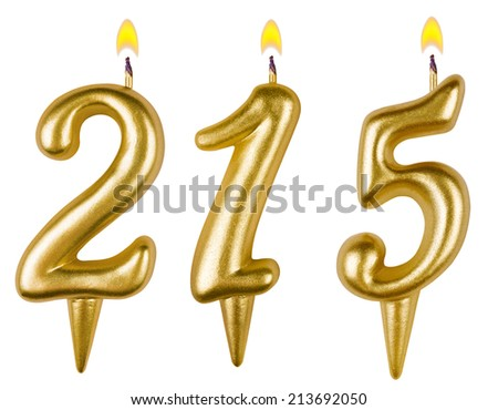candles numbertwo hundred fifteen isolated on white background - stock photo