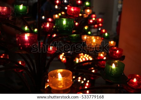 Candles of a Church, with different colors