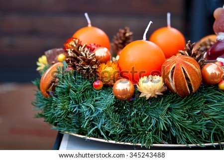 Candles of Christmas Advent Wreath (detail view) - stock photo