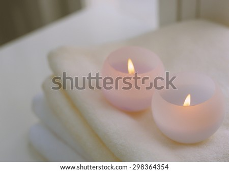 candles on the  table - stock photo