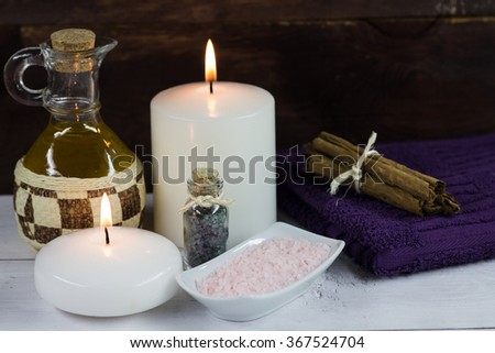 Candles Spa bath salts and massage oil