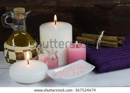 Candles Spa cinnamon and massage oil