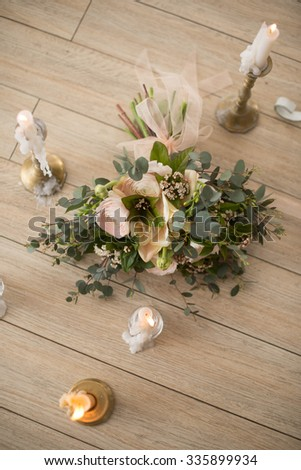 candles, wedding bouquet - stock photo