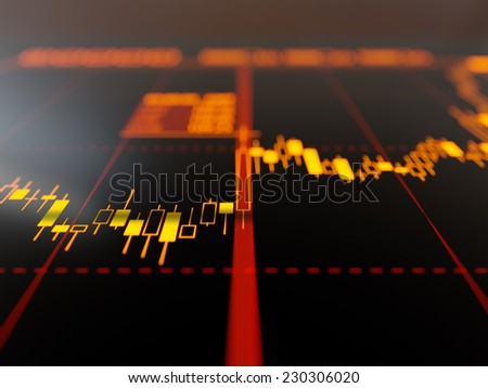 Candlestick chart on display close-up - stock photo