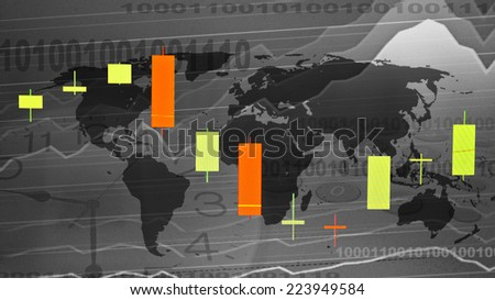candlestick chart showing growth trend - stock photo