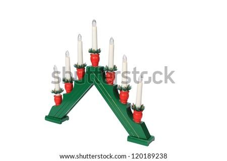 Candlestick Christmas Decoration Isolated on white - stock photo