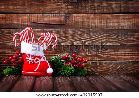 candy and christmas decorations
