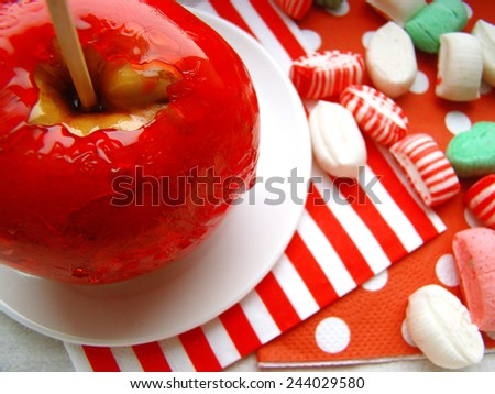 candy apple, Toffee Apple, sugar candy - stock photo