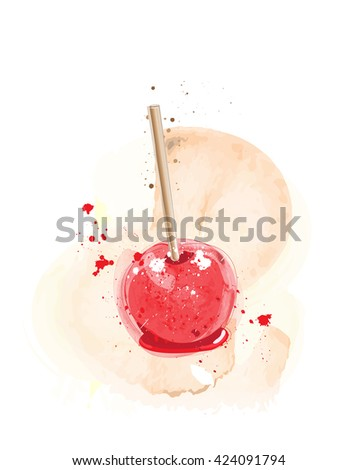 Candy apples watercolour effect.  - stock photo