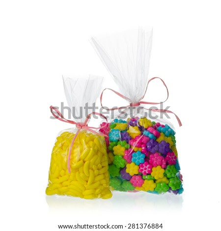 candy bags isolated on white background - stock photo