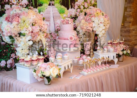 Candy Bar And Wedding Cake Table With Sweets Buffet Cupcakes Candies