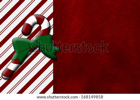 Candy Cane and Red Plush Fabric Christmas Background with center copy-space, Christmas Time Background - stock photo