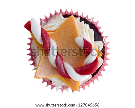 Candy Cane Cupcake in a top view image - stock photo