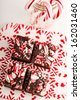 Candy cane fudge sitting on plate made with melted peppermint candies and jar of candy canes - stock photo