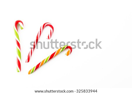 candy cane striped on white background - stock photo
