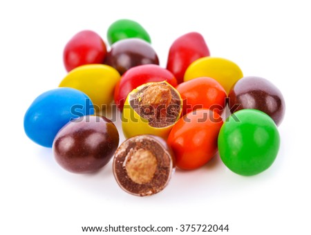 Candy chocolate colorful isolated on white background.