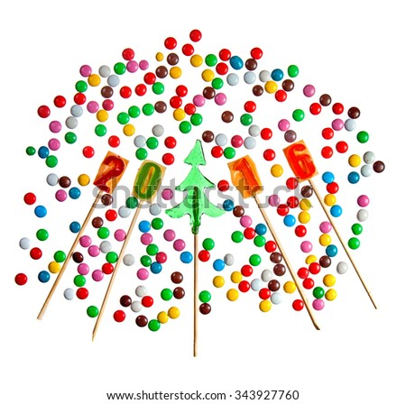 Candy christmas tree and 2016 year number lollipops with sweet beans isolated over white - stock photo