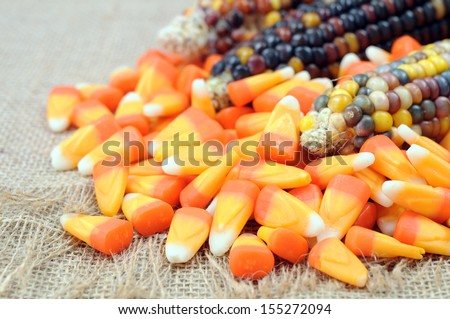 candy corn and Indiana corn - stock photo
