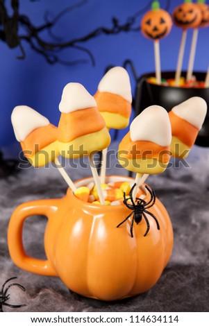 Candy corn cake pops - stock photo