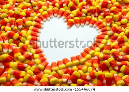 Candy corn heart - stock photo