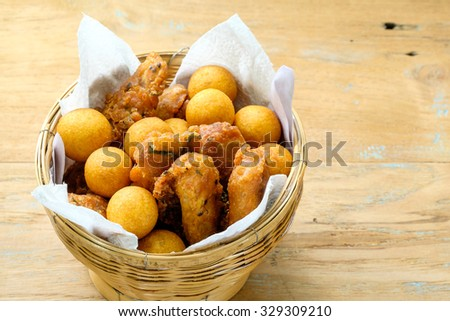 Candy eggs, fried bananas  thai style - stock photo