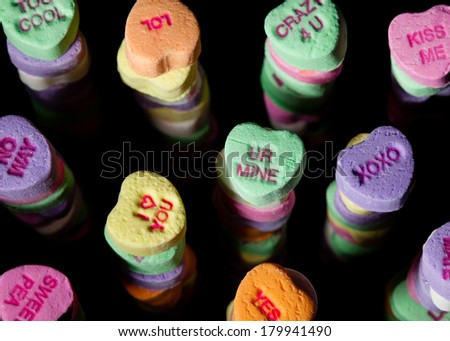 Candy Heart Towers - stock photo
