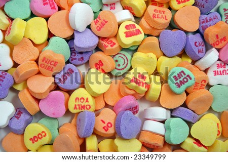 candy hearts background from above - stock photo