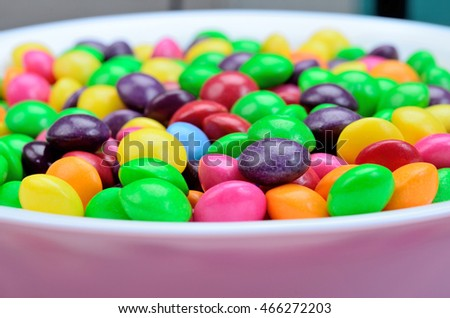 candy in white bowl